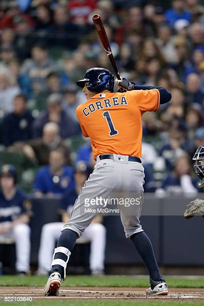 Carlos Correa of the Houston Astros gets ready for the next pitch during the game against the Milwaukee Brewers at Miller Park on April 09 2016 in...