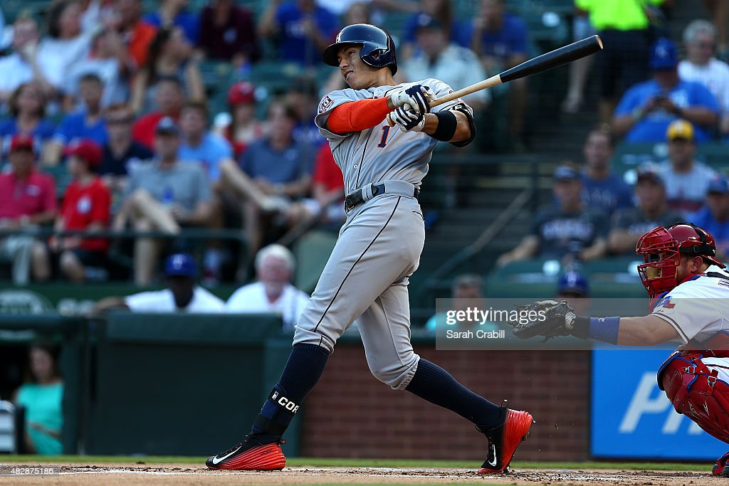 Carlos Correa #1 of the Houston Astros hits a home run in the first inning during a game against the Texas Rangers at Globe Life Park in Arlington on August 3, 2015 in Arlington, Texas.