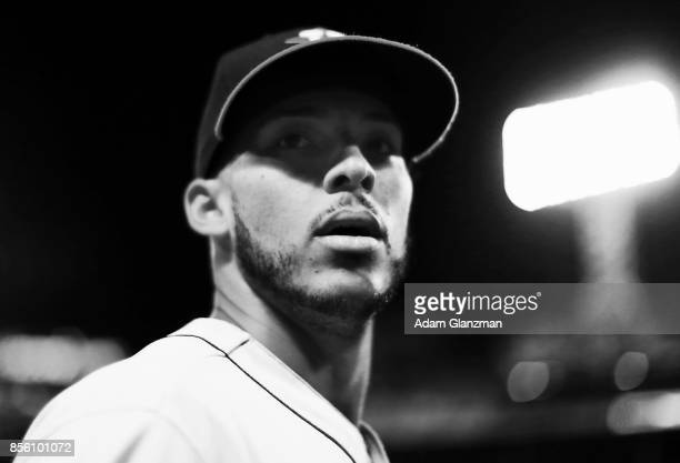 Carlos Correa of the Houston Astros looks on before a game against the Boston Red Sox at Fenway Park on September 29 2017 in Boston Massachusetts