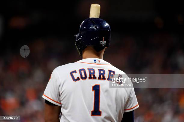 Carlos Correa of the Houston Astros looks on during Game 3 of the 2017 World Series against the Los Angeles Dodgers at Minute Maid Park on Friday...