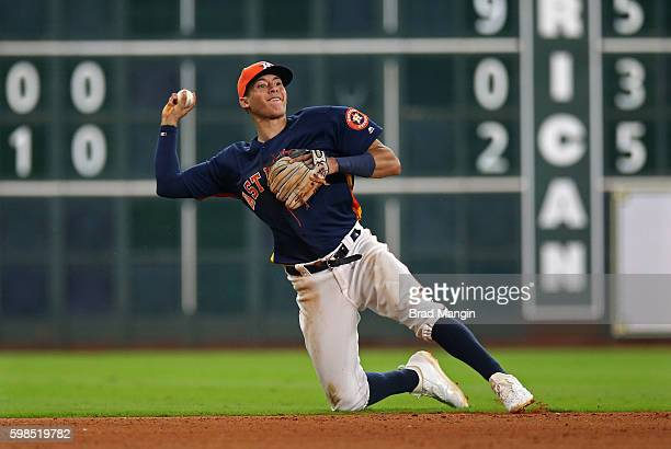Carlos Correa of the Houston Astros makes a play at shortstop against the Tampa Bay Rays during the game at Minute Maid Park on Sunday August 28 2016...