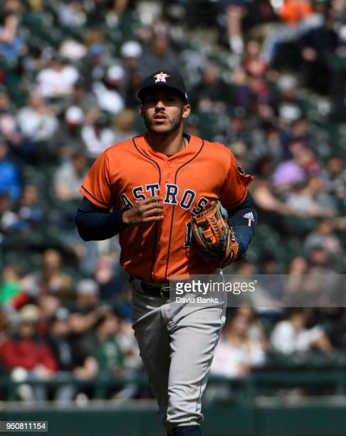 Carlos Correa of the Houston Astros plays against the Chicago White Sox on April 22 2018 at Guaranteed Rate Field in Chicago Illinois The Astros won...