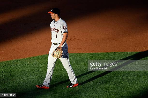 Carlos Correa of the Houston Astros plays shortstop against the Los Angeles Angels of Anaheim at Angel Stadium of Anaheim on June 23 2015 in Anaheim...