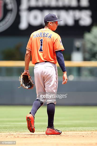Carlos Correa of the Houston Astros plays shortstop during the game against the Colorado Rockies at Coors Field on June 18 2015 in Denver Colorado...