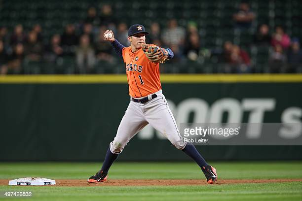 Carlos Correa of the Houston Astros plays shortstop during the game against the Seattle Mariners at Safeco Field on September 28 2015 in Seattle...