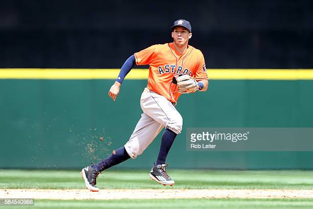 Carlos Correa of the Houston Astros plays shortstop during the game against the Seattle Mariners at Safeco Field on July 16 2016 in Seattle...