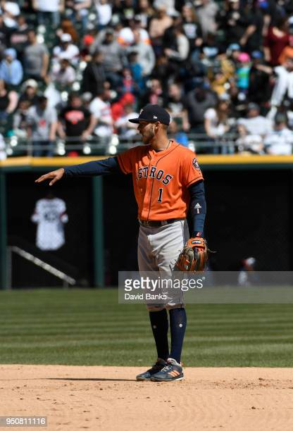 Carlos Correa of the Houston Astros plays the field against the Chicago White Sox on April 22 2018 at Guaranteed Rate Field in Chicago Illinois The...