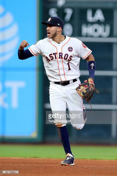 Carlos Correa of the Houston Astros reacts during the sixth inning against the Los Angeles Dodgers in game four of the 2017 World Series at Minute...