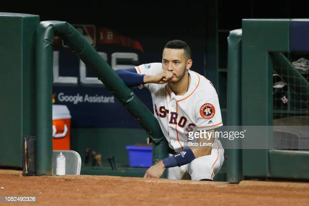 Carlos Correa of the Houston Astros reacts in the dugout after being defeated by the Boston Red Sox 41 in Game Five of the American League...