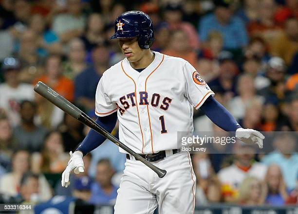 Carlos Correa of the Houston Astros strikes out in the ninth inning against the Texas Rangers at Minute Maid Park on May 21 2016 in Houston Texas