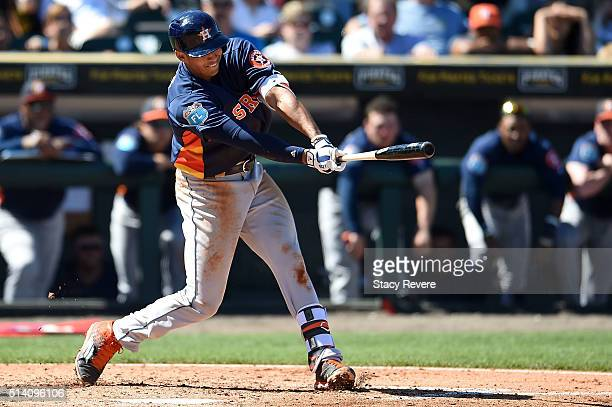 Carlos Correa of the Houston Astros swings at a pitch during a spring training game against the Pittsburgh Pirates at McKechnie Field on March 6 2016...