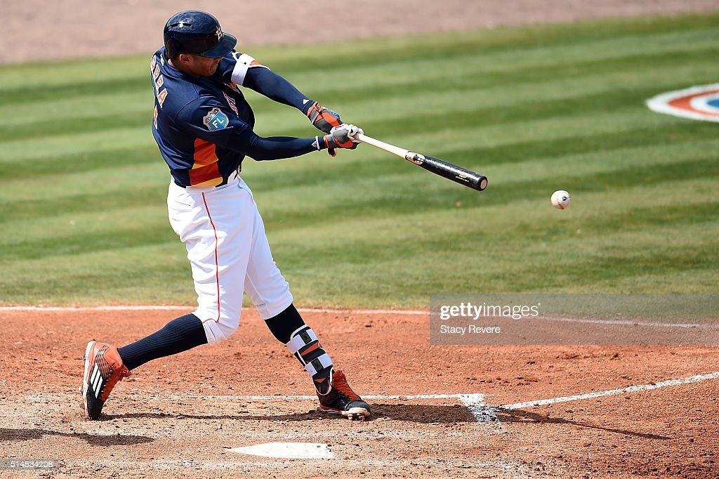 Carlos Correa #1 of the Houston Astros swings at a pitch during the third inning of a spring training game against the Atlanta Braves at Osceola County Stadium on March 9, 2016 in Kissimmee, Florida.