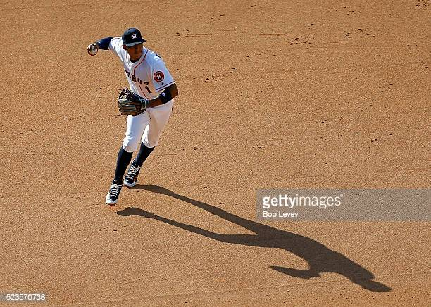 Carlos Correa of the Houston Astros throws out Dustin Pedroia of the Boston Red Sox in the seventh inning at Minute Maid Park on April 23 2016 in...