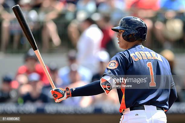 Carlos Correa of the Houston Astros waits for a pitch during a spring training game against the Atlanta Braves at Osceola County Stadium on March 9...