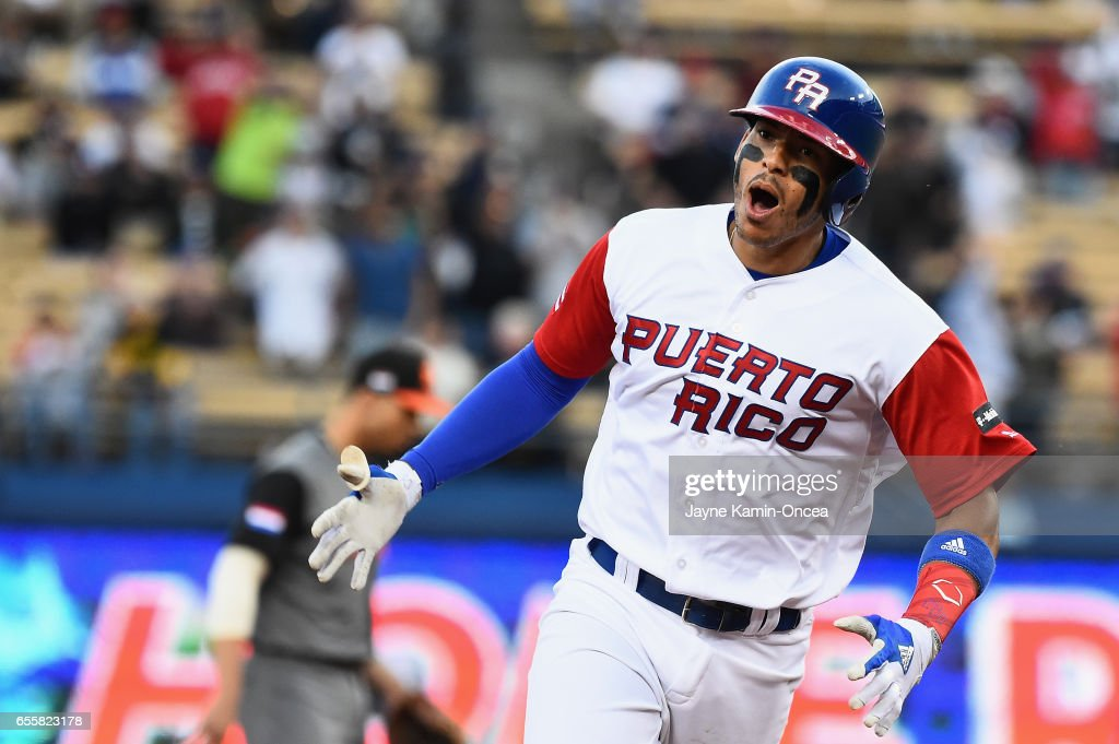 Carlos Correa #1 of the Puerto Rico rounds the bases after his two-run home run to tie the game 2-2 in the first inning against team Netherlands during Game 1 of the Championship Round of the 2017 World Baseball Classic at Dodger Stadium on March 20, 2017 in Los Angeles, California.