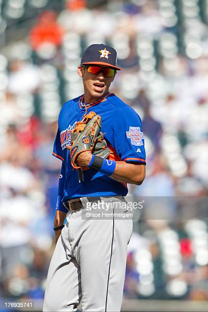Carlos Correa of the World Team looks on during the game on July 14, 2013 at Citi Field in the Flushing neighborhood of the Queens borough of New...