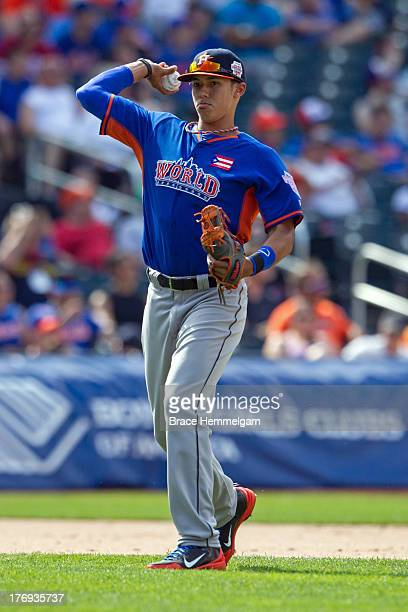 Carlos Correa of the World Team throws during the game on July 14, 2013 at Citi Field in the Flushing neighborhood of the Queens borough of New York...