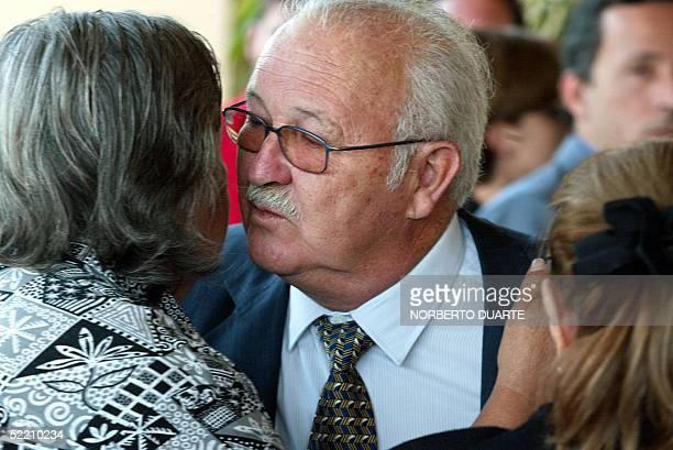 Carlos Cubas ministro del Interior en el gobierno de su hermo Raul Cubas llega al velorio de la hija del ex presidente Cecilia Cubas en Asuncion el...