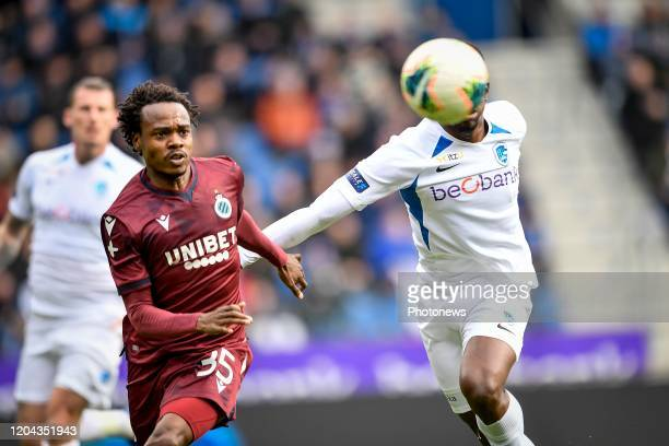 Carlos Cuesta defender of Genk battles for the ball with Percy Tau forward of Club Brugge during the Jupiler Pro League match between KRC Genk and...
