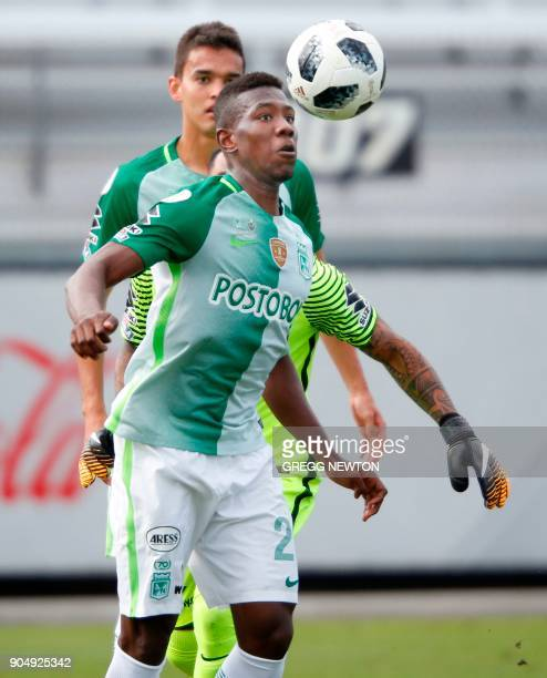 Carlos Cuesta of Colombian side Atletico Nacional clears the ball awayy from the goal during the second half of their Florida Cup game against...
