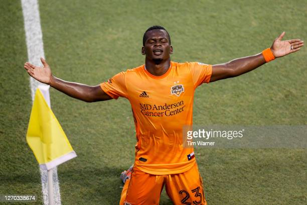 Carlos Darwin Quintero of Houston Dynamo celebrates after a goal in the first half against the Minnesota United at BBVA Compass Stadium on September...