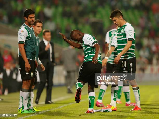 Carlos Darwin Quintero of Santos celebrates after scoring the third goal of his team during a match between Santos Laguna and Xolos as part of the...
