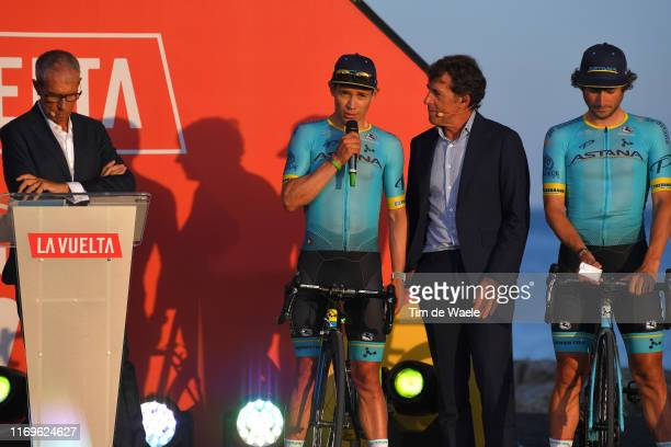 Carlos de Andrés of Spain Journalist / Miguel Angel Lopez of Colombia and Astana Pro Team / Pedro Delgado of Spain Ex Procyclist / Manuele Boaro of...