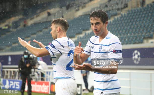 Carlos De Pena of Kyiv celebrates after scoring the 12 goal during the UEFA Champions League PlayOff first leg match between KAA Gent and Dynamo Kyiv...