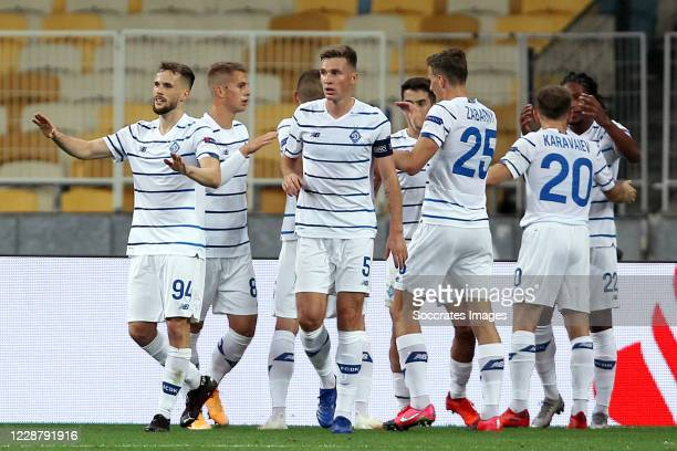 Carlos De Penaof Dynamo Kiev celebrates 2-0 with Serhiy Sydorchukof Dynamo Kiev, Tomasz Kedzioraof Dynamo Kiev, Volodymyr Shepelievof Dynamo Kiev,...