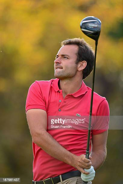 Carlos Del Moral of Spain plays a shot during the fifth round of European Tour qualifying school final stage at PGA Catalunya Resort on November 14...