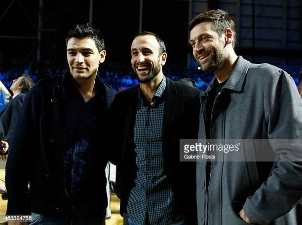 Carlos Delfino Emanuel Ginobili and Fabricio Oberto pose for a photo prior a match between Argentina and Brazil as part of the first round of Hope...