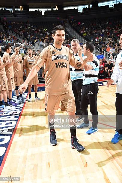 Carlos Delfino of Argentina is introduced before the game against the USA Basketball Men's National Team on July 22 2016 at TMobile Arena in Las...