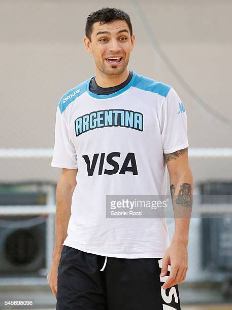 Carlos Delfino of Argentina looks on after Argentina Training Session at CeNARD on July 09 2016 in Buenos Aires Argentina