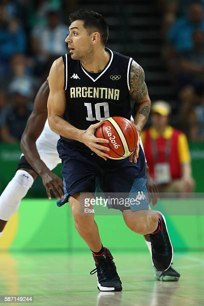 Carlos Delfino of Argentina moves the ball during a Men's preliminary round basketball game between Nigeria and Argentina on Day 2 of the Rio 2016...