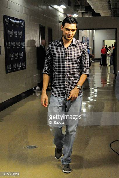 Carlos Delfino of the Houston Rockets arrives to play against the Oklahoma City Thunder in Game Four of the Western Conference Quarterfinals during...