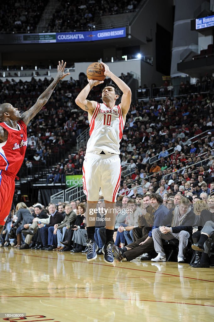 Carlos Delfino #10 of the Houston Rockets shoots a three pointer against the Los Angeles Clippers on January 15, 2013 at the Toyota Center in Houston, Texas.