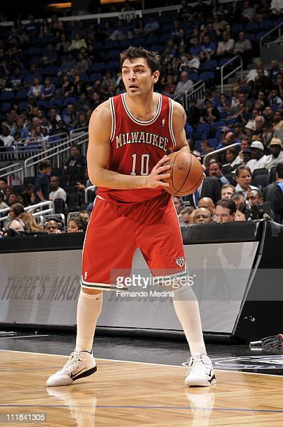 Carlos Delfino of the Milwakee Bucks moves the ball against the Orlando Magic on April 5 2011 at the Amway Center in Orlando Florida NOTE TO USER...