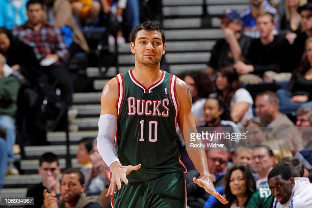 Carlos Delfino of the Milwaukee Bucks gets ready to take on the Golden State Warriors on February 2 2011 at Oracle Arena in Oakland California NOTE...
