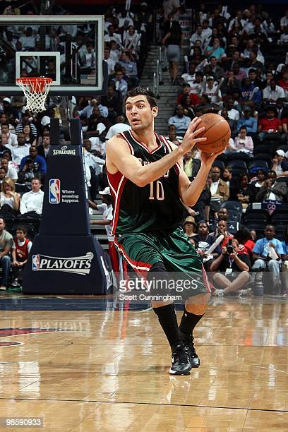 Carlos Delfino of the Milwaukee Bucks handles the ball against the Atlanta Hawks in Game Two of the Eastern Conference Quarterfinals during the 2010...