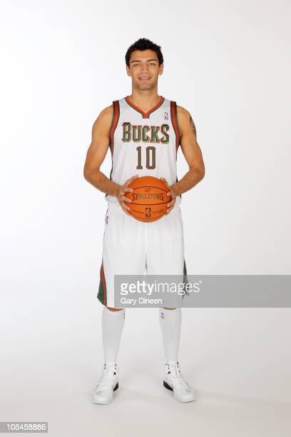 Carlos Delfino of the Milwaukee Bucks poses for a portrait during 2010 NBA Media Day on September 27 2010 at the Milwaukee Bucks Training Center in...