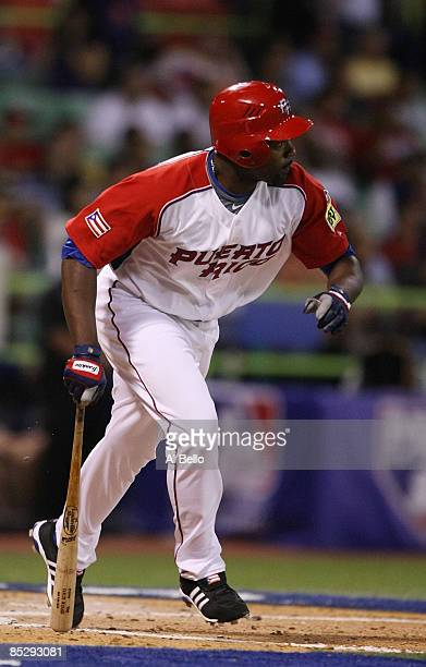 Carlos Delgado of Puerto Rico runs after hitting the ball against Panama during the 2009 World Baseball Classic Pool D match on March 7, 2009 at...