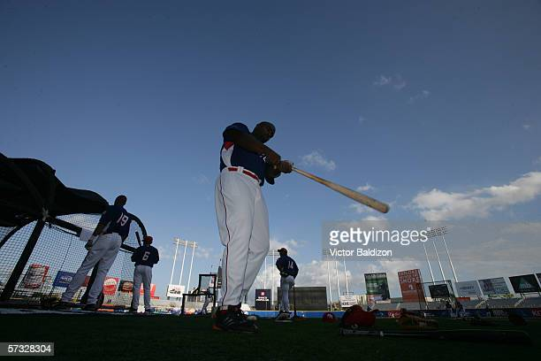 Carlos Delgado of Puerto Rico warms up before the game against Cuba on March 15 2006 at Hiram Bithorn Stadium in San Juan Puerto Rico Cuba defeated...