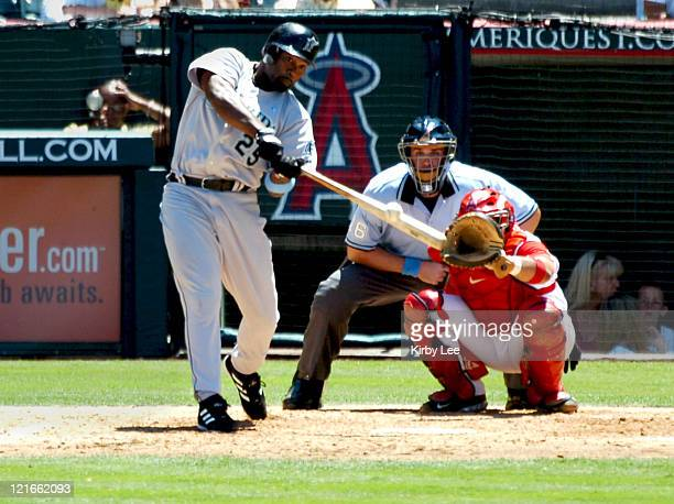 Carlos Delgado of the Florida Marlins bats during 7-5 victory over the Los Angeles Angels of Anaheim at Angel Stadium in Anaheim, California on...