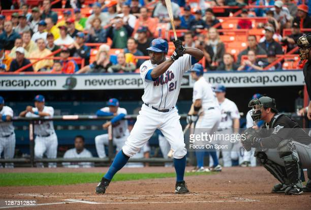 Carlos Delgado of the New York Mets bats against the Florida Marlins during an Major League Baseball game September 27, 2008 at Citi Field in the...