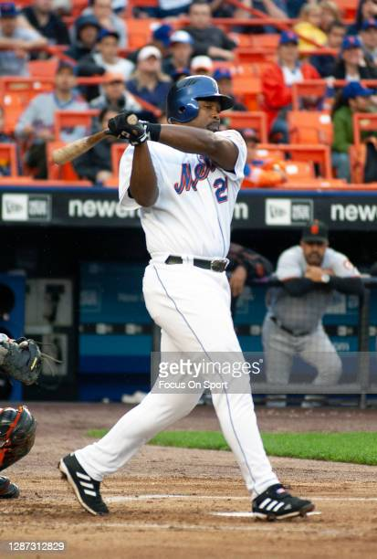 Carlos Delgado of the New York Mets bats against the San Francisco Giants during an Major League Baseball game June 2, 2006 at Citi Field in the...
