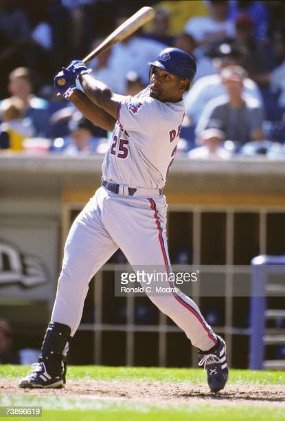 Carlos Delgado of the Toronto Blue Jays batting in a game against the Chicago White Sox on September 16 2000 in Chicago Illinois