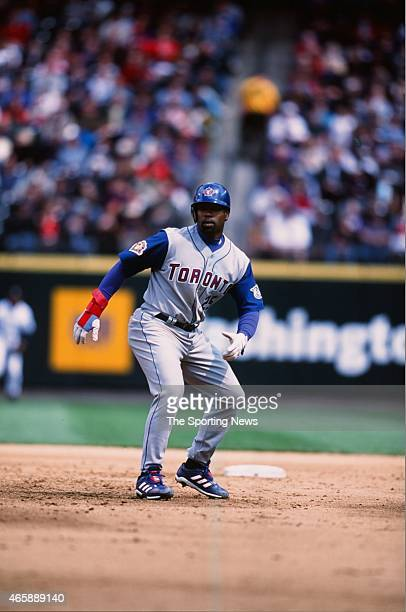 Carlos Delgado of the Toronto Blue Jays runs against the Seattle Mariners at Safeco Field on May 5, 2001 in Seattle, Washington.
