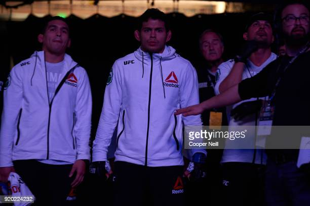 Carlos Diego Ferreira walks to the Octagon before fighting Jared Gordon during the UFC Fight Night event at Frank Erwin Center on February 18 2018 in...
