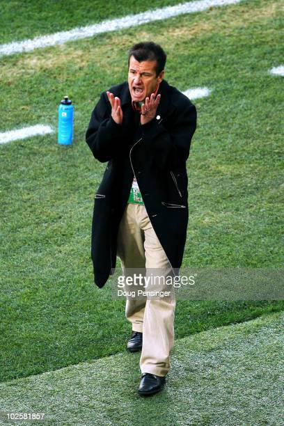 Carlos Dunga head coach of Brazil reacts on the touchline during the 2010 FIFA World Cup South Africa Quarter Final match between Netherlands and...