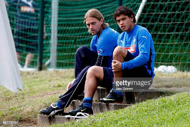 Carlos Eduardo and Timo Hildebrand prepare for a training session of 1899 Hoffenheim during a training camp on July 1, 2009 in Stahlhofen am...